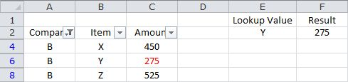Looking Up a Value Based on a Single Criteria - Filtered List