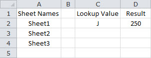 Look Up a Value Based on a Single Criteria Across Multiple Sheets - Summary Sheet - Method Two