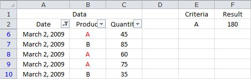 Summing Based on a Single Criteria in a Filtered List